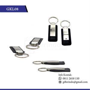 GKL08 Gantungan Kunci Kulit Kombinasi Metal