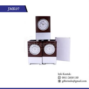 Jam Meja Kayu Pen Holder