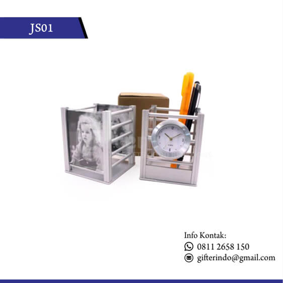 JS01 Jam Meja Pen Holder Custom
