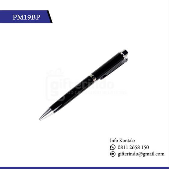 PM19BP Pulpen Promosi Hitam Print Logo