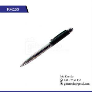 PM25S Pulpen Promosi Touchscreen Hitam Silver