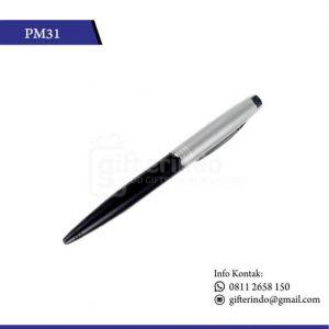 PM31 Pulpen Promosi Hitam Print Logo
